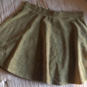 Olive corduroyed skater skirt